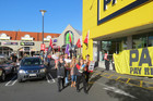 Protestors walked around the Pak 'n Save carpark chanting (Photo: Imogen Crispe /3 News)