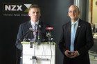 Finance Minister Bill English (L) and State-Owned Enterprises Minister Tony Ryall at the NZX (Photo: Lloyd Burr/3 News)