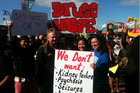 Protesters are rallying outside Manurewa's 'High Zone' store (Photo: Adrien Taylor/3 News)