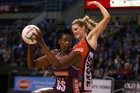Romelda Aiken of the Firebirds and Jane Watson of the Tactix (Photosport)