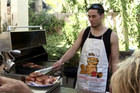 Joseph Parker manning the BBQ at trainer Kevin Barry's place