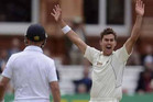 Trent Boult, right, appeals at Lords in the match between the Black Caps and England (Reuters)