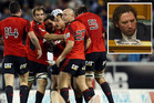 Aaron Gilmore huff and puff (inset): The Crusaders may consider inviting a freshly available local lad to deliver their pre-match motivational speech as they seek utu against the Blues (Photosport)