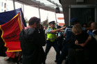 Police clash with anti-poverty protestors at Vector Arena this morning (Photo: Imogen Crispe/ 3 News)