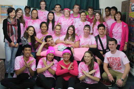 Students wear pink