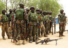 Soldiers stand during a parade in Baga village on the outskirts of Maiduguri, in the north-eastern state of Borno (Reuters)