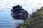 3News - The car became partially submerged in the oxidation pond of a sewage treatment plant (Tim Raethel)