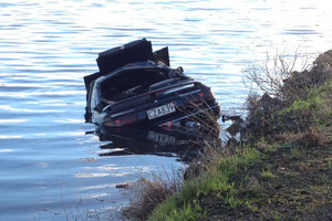 The car became partially submerged in the oxidation pond of a sewage treatment plant (Tim Raethel)