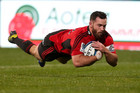Ryan Crotty scores the Crusaders first try against the Blues (Photosport)