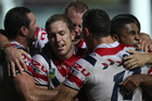 Roosters celebrate the try to Mitch Aubusson (AAP)