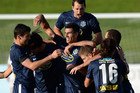 Auckland City celebrate Alex Feneridis' goal (Photosport)