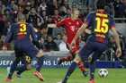Arjen Robben shoots and scores for bayern Munich. barcelona could only watch as they got hammered 7-0 on aggregate in the semifinal tie (Reuters)