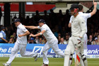 England cricketers celebrate as Black Caps slump (AAP)