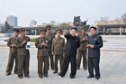 North Korean leader Kim Jong-un (2nd R) visits a North Korean army construction site (Reuters/KCNA file)