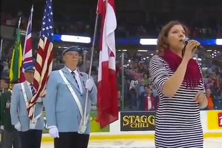 Alexis Normand performing the US national anthem