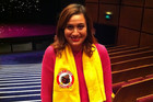 Rose Matafeo wearing her Billy T Award Yellow Towel (Photo: Claire Lancaster)