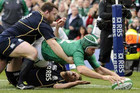 Ireland's Rory Best scores a trry against Scotland (Reuters file)
