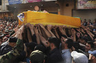 Supporters of Hezbollah during a funeral in Nabi Sheet (Reuters)