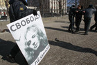 Maria Alekhina on a protester's sign (Reuters)