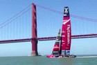 Team New Zealand sail in front of the Golden Gate Bridge in San Francisco Bay