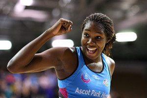 Jhaniele Fowler of the Steel celebrates their win in the ANZ Netball Championship (Photosport)