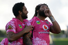 Manu Vatuvei celebrates his try (AAP)