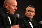 Grant Dalton and Sir Russell Coutts speak during an evening (Photosport)