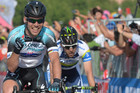 Mark Cavendish (L) celebrates (AAP)