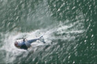 The moment a composite helicopter made a water landing in Auckland this morning