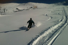 Blair James, Head of Snowmaking at Mt Hutt, tests the snow (supplied)