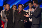 Maaka Fiso (C) with his mentor Stan Walker (L) and X Factor NZ host Dominic Bowden (R) (Photo: The X Factor NZ)