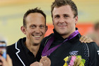 Justin Grace, left, with Simon van Velthooven who won bronze at the London Olympics (photosport)