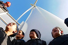 School children visiting a wind farm