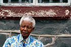 Nelson Mandela in 2003, outside his former prison cell on Robben Island (Reuters file)