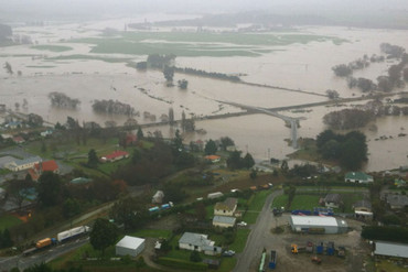 An aerial view shows severe flooding in Clarksville, north of Maheno