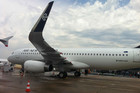 Air New Zealand's new A320 with sharklet wing tips (Photo: Hamish Clark/3 News)
