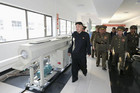 North Korean leader Kim Jong-un visits the Seong-cheon River Fishnet Factory and Plastic Factory (Reuters)