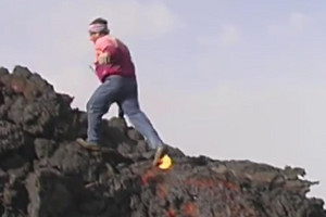 VIDEO: Man runs up lava flow