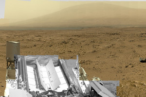 A small part of the image showing Mt Sharp in the distance