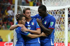 Sebastian Giovinco celebrates with teammates Claudio Marchisio and Mario Balotelli (Photosport)