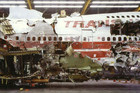 The re-constructed wreckage of TWA Flight 800 (Reuters file)