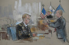 Pfc. Bradley Manning is sketched in court on the first day of his trial (Reuters)