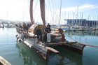 The waka sails into Chaffers Marina next to Te Papa Museum (photo: Lloyd Burr/3 News)