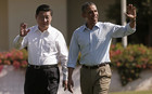 U.S. President Barack Obama and Chinese President Xi Jinping walk the grounds at The Annenberg Retreat at Sunnylands in Rancho Mirage (Reuters)