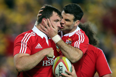 Alex Corbisiero celebrates his try with Mike Phillips (Photosport)