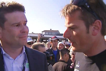 John Campbell caught up with Dean Barker after the race