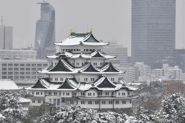 Nagoya Castle is seen covered with snow in Nagoya, central Japan (Reuters)