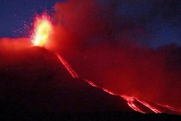 Mt Etna erupts