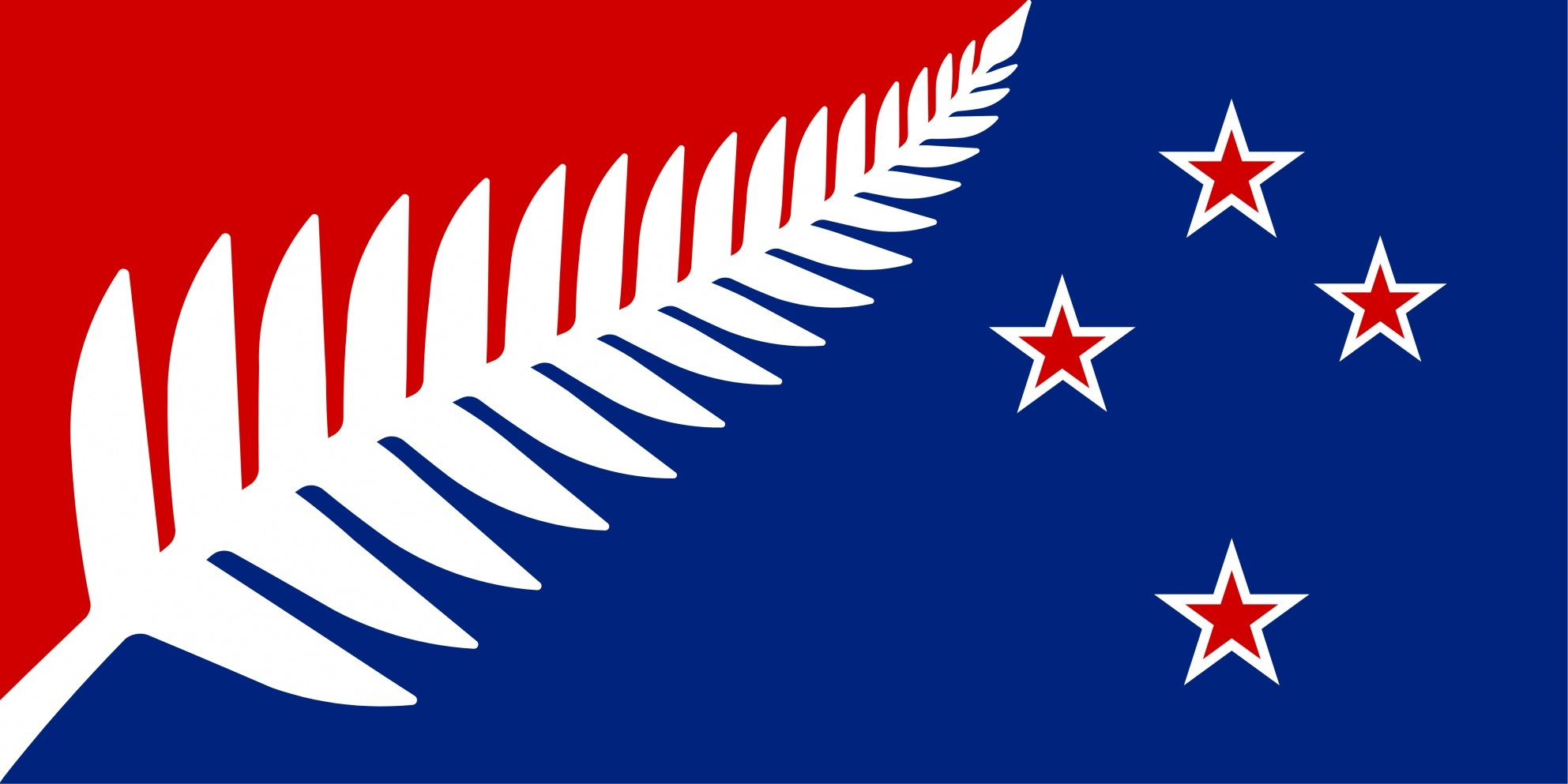 Image of the silver fern flag - red white and blue version.